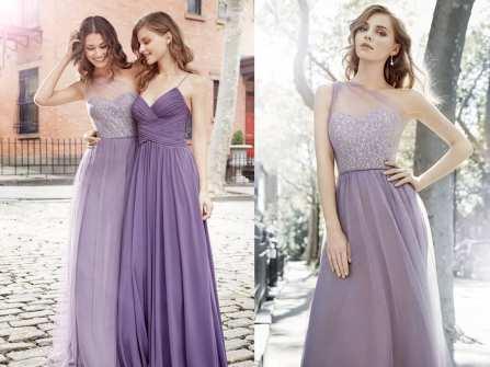 Váy phụ dâu màu tím đa sắc thái cho hôn lễ lãng mạn
