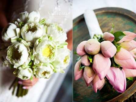 Hoa cưới đẹp - Hoa cưới cầm tay dáng dài kết hoa sen nền nã