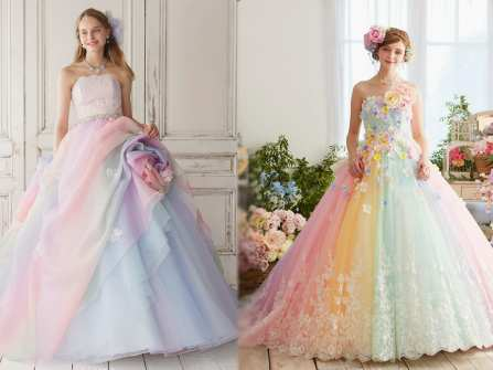 Váy cưới họa tiết hoa lá rực rỡ cho mùa Hè