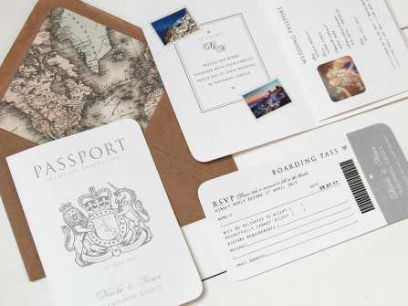 """Thiệp cưới passport """"độc lạ"""" cho cặp đôi yêu thích du lịch"""