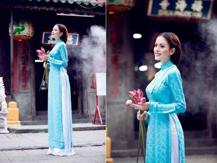 Áo dài màu xanh ngọc thanh khiết cho cô dâu dịu dàng