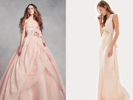 Váy cưới màu hồng phấn cho cô nàng nữ tính