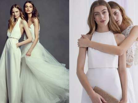 Váy phù dâu đẹp chữ A tông trắng cho cô nàng nữ tính