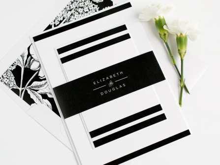 Mẫu thiệp cưới đơn giản mang tông đen trắng hiện đại
