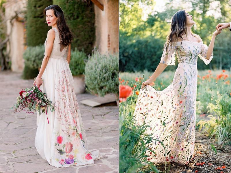váy cưới cô dâu đẹp họa tiết hoa lộng lẫy