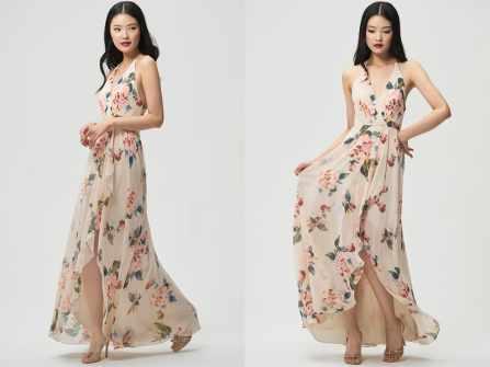 Váy phụ dâu họa tiết Floral - xu hướng mới cho đám cưới Xuân-Hè 2018