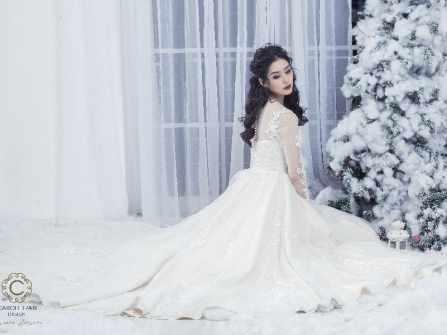 Váy cưới dáng A màu nude khiến cô dâu thanh mảnh kiêu sa - 1200$