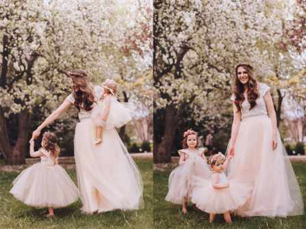 Bộ ảnh váy phù dâu cho bé gái