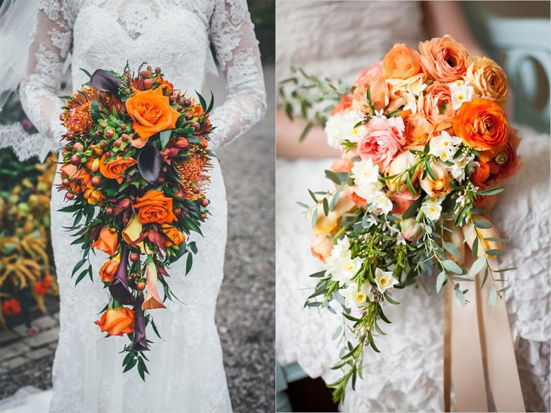 hoa cưới cầm tay màu cam 7