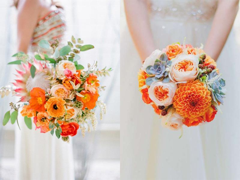 hoa cưới cầm tay màu cam 8