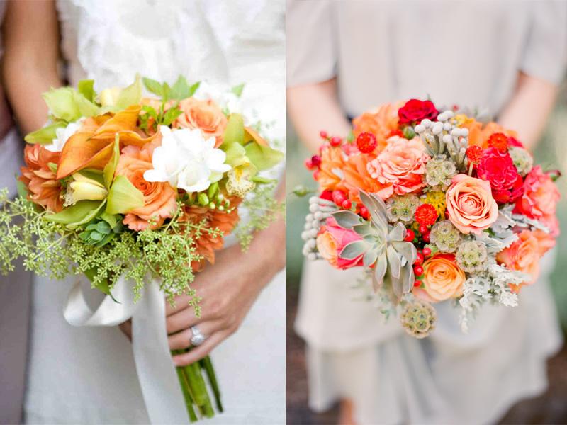 hoa cưới cầm tay màu cam 2