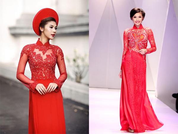 áo dài cưới đỏ 2