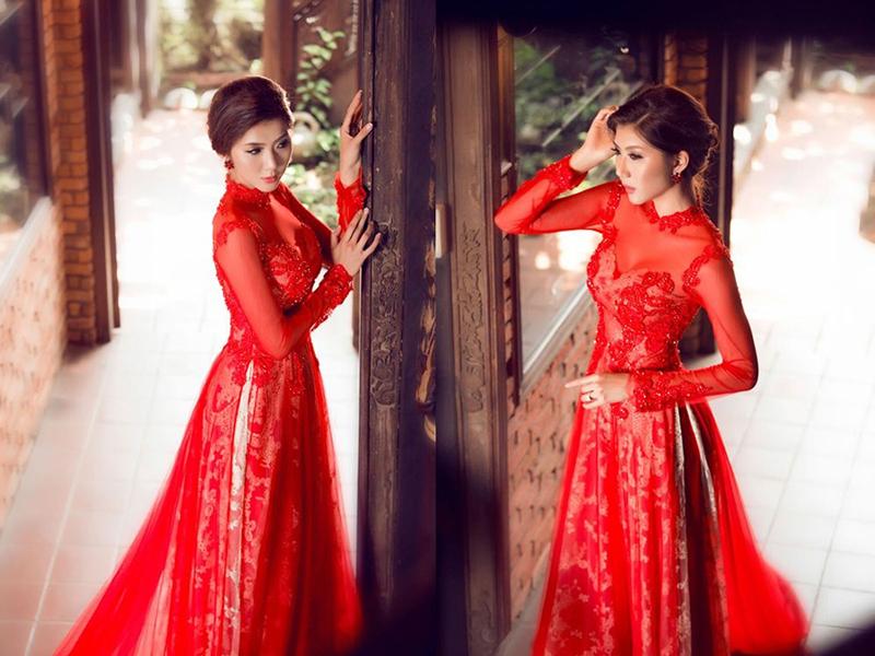 áo dài cưới đỏ 3