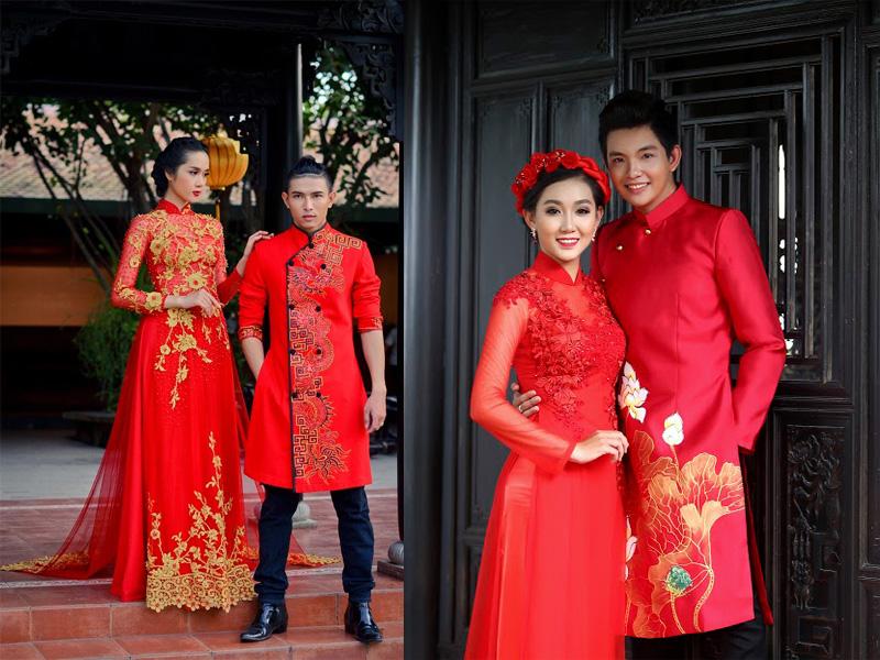 áo dài cưới đỏ 9