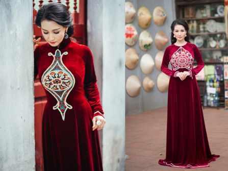 12 mẫu áo dài nhung mà mẹ cô dâu chú rể không thể bỏ qua