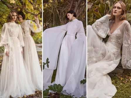 Váy cưới bohemian tay phồng lãng mạn cho cô dâu phóng khoáng