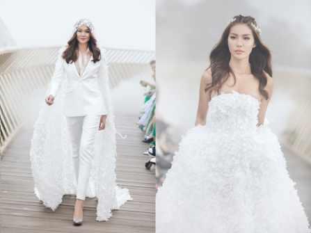 Siêu mẫu Minh Tú diện áo cưới kết từ 50.000 cánh hoa tại Bà Nà