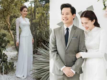 13 mẫu áo dài cưới màu trắng đẹp tinh khôi cho nàng dâu Việt