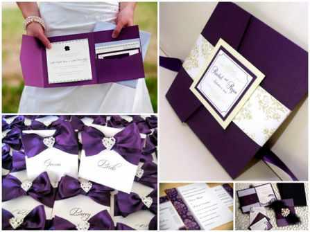 Thiệp cưới màu tím mê hoặc mọi ánh nhìn