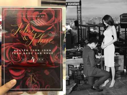 Lộ diện hình ảnh thiệp cưới chính thức của Lan Khuê