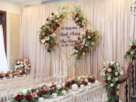 Trang trí tư gia đám cưới - Mẫu phông
