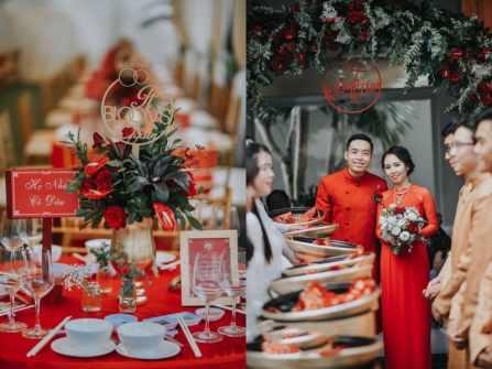 Ngập tràn sắc đỏ cherry trong lễ đính hôn của đôi uyên ương Việt