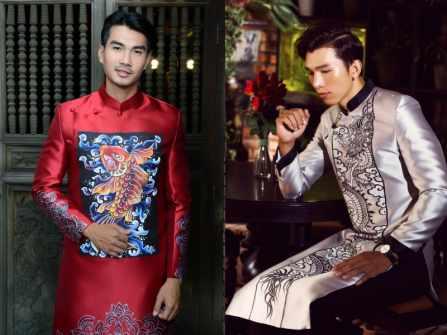 BST áo dài cách tân nam họa tiết phương Đông từ NTK Minh Châu