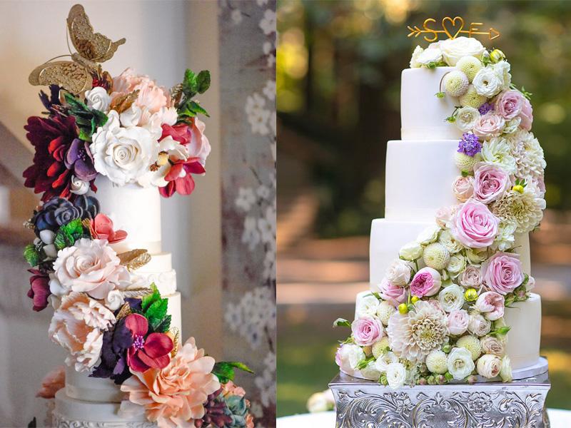 bánh cưới hoa tươi nhiều tầng 7