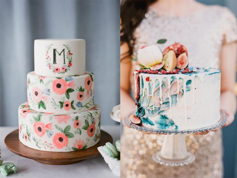 mẫu bánh cưới vẽ tay 7