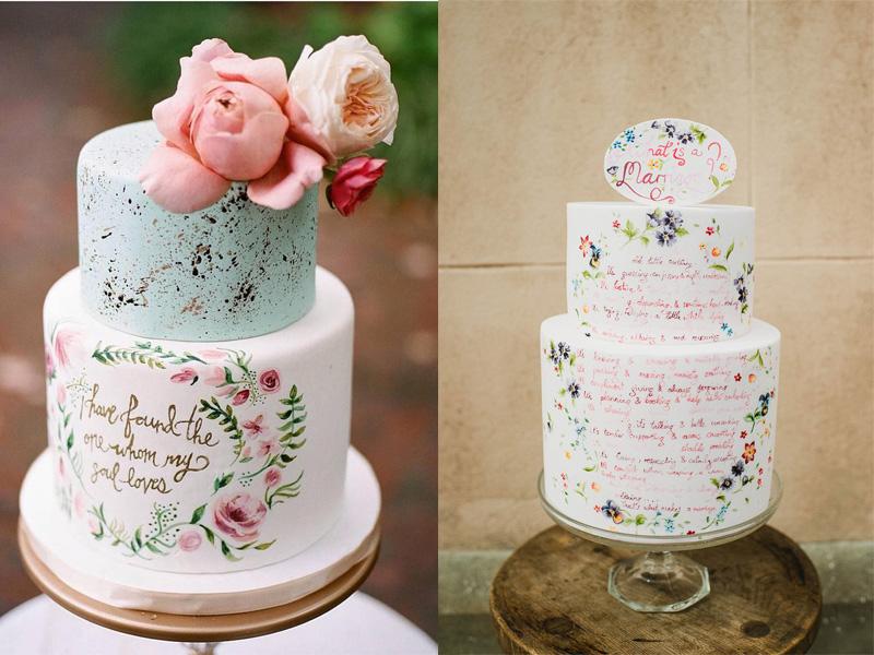 mẫu bánh cưới vẽ tay 6