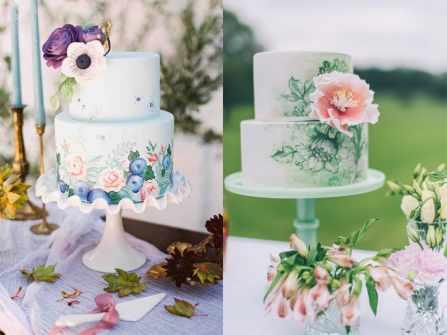 20 mẫu bánh cưới vẽ tay họa tiết hoa cỏ đẹp mê hồn