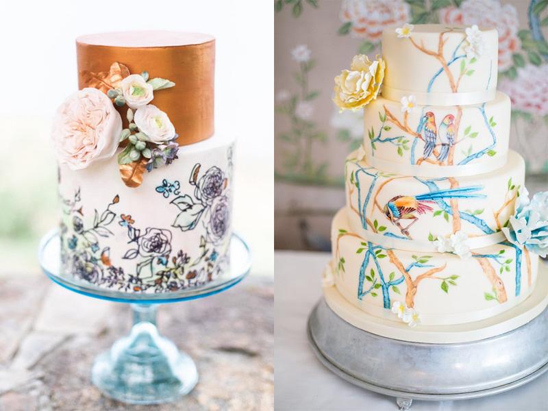 mẫu bánh cưới vẽ tay 1