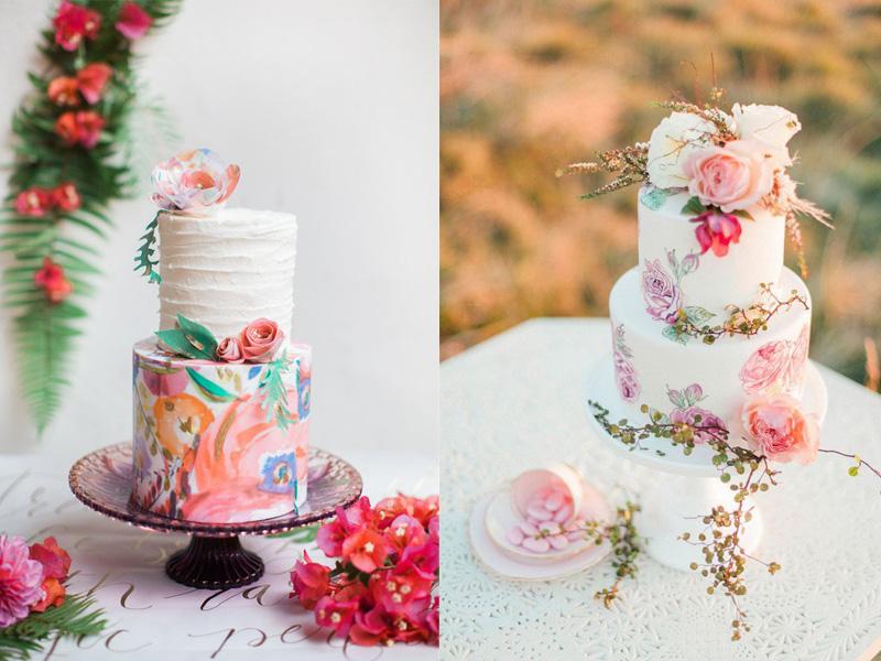 mẫu bánh cưới vẽ tay 11