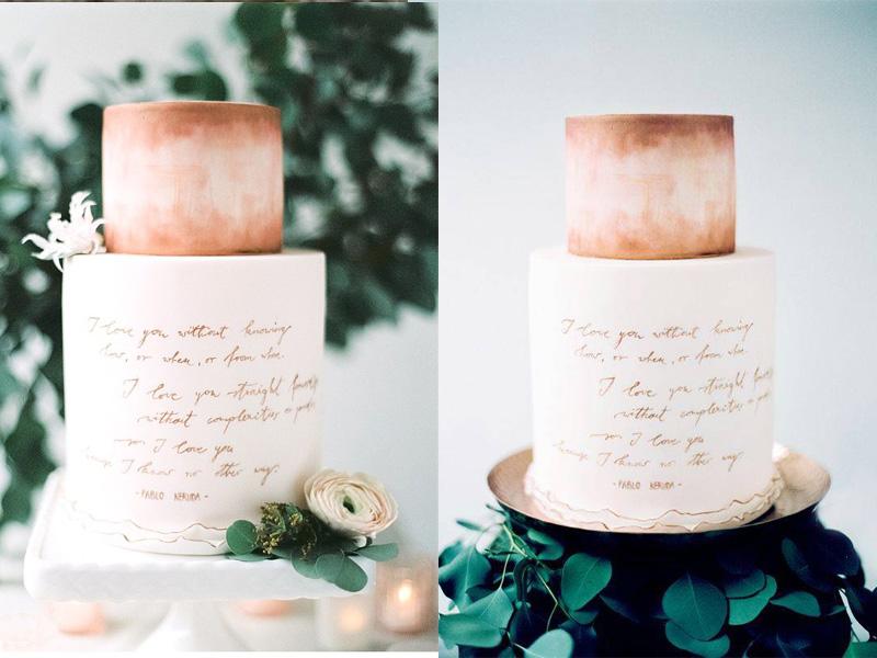 bánh cưới phong cách Calligraphy 2
