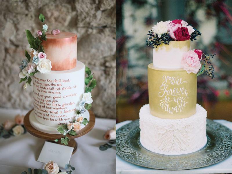bánh cưới phong cách Calligraphy 1