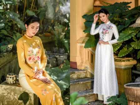 Đẹp tinh khôi tựa sương mai với áo dài cưới thêu tay tinh xảo