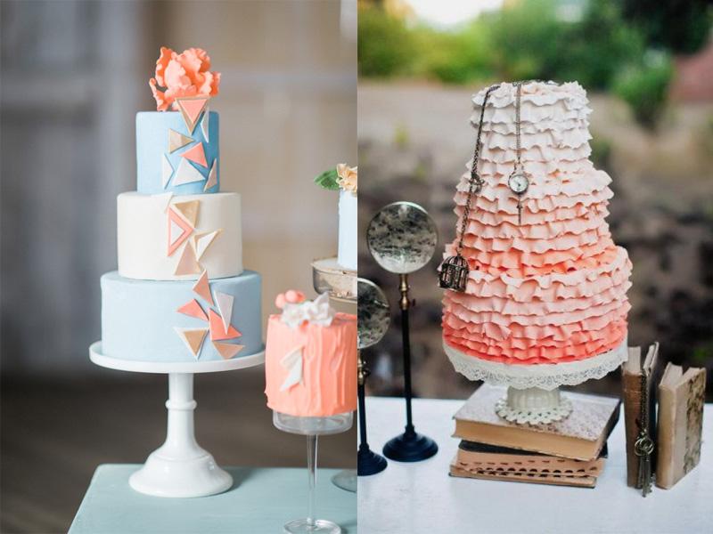bánh kem cưới màu cam san hô 2