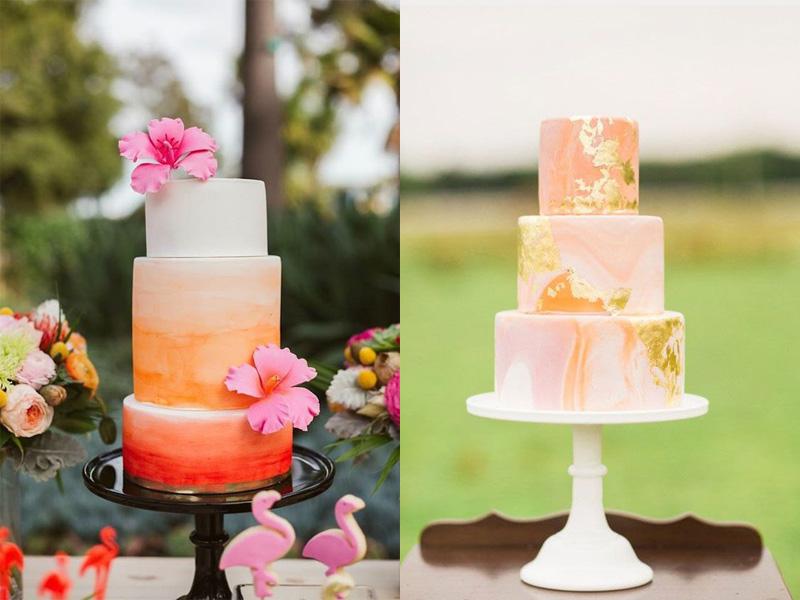 bánh kem cưới màu cam san hô 5