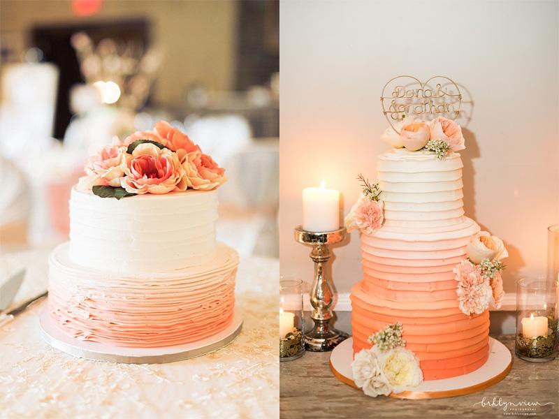 bánh kem cưới màu cam san hô 7