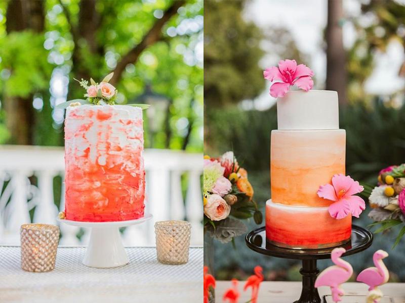 bánh kem cưới màu cam san hô 8