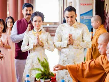 Lễ cưới của ca sĩ Võ Hạ Trâm và chồng Ấn Độ tại chùa Di Lặc