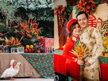 Đám cưới mang cả bầu trời tuổi thơ của cặp đôi Vân và Thông