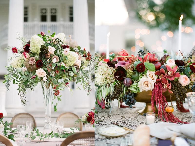 hoa hồng trang trí bàn tiệc