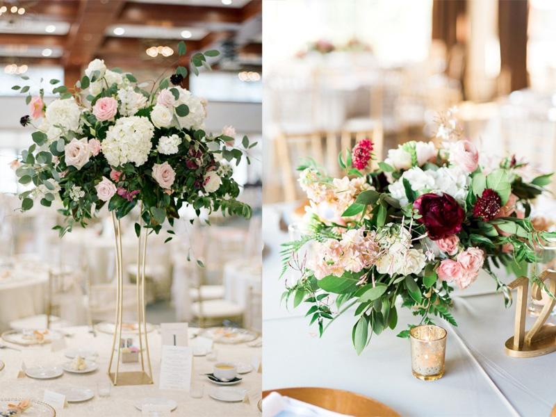 hoa hồng trang trí bàn tiệc 0