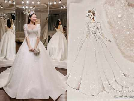 """Chiếc váy cưới công chúa lộng lẫy bậc nhất của mỹ nhân """"The Face"""""""