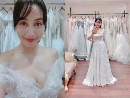"""Vóc dáng """"mẹ ba con"""" đáng ngưỡng mộ của Ốc Thanh Vân khi thử váy cưới"""