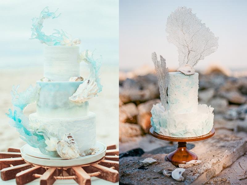 Bánh cưới chủ đề đại dương xanh mát cho đám cưới mùa Hè