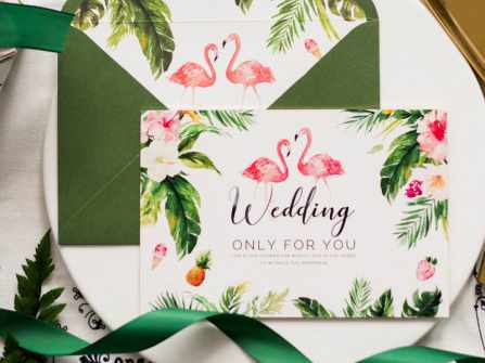 Thiệp cưới hồng hạc xinh xắn ngọt ngào