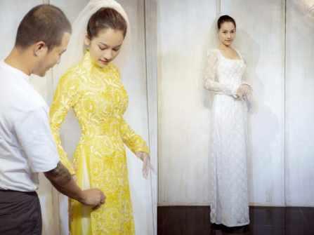 Sara Lưu xúng xính áo dài chuẩn bị cho đám cưới với Dương Khắc Linh