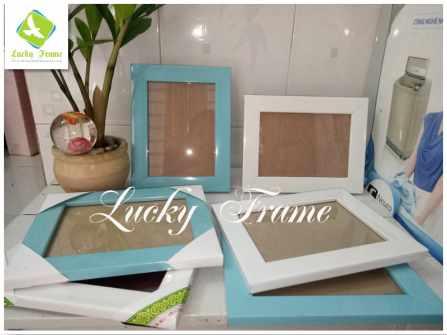 Bộ khung ảnh sinh nhật 13x18cm trắng xanh để bàn-treo tường